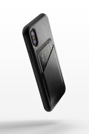 Full leather wallet case for iPhone X - Black - 01