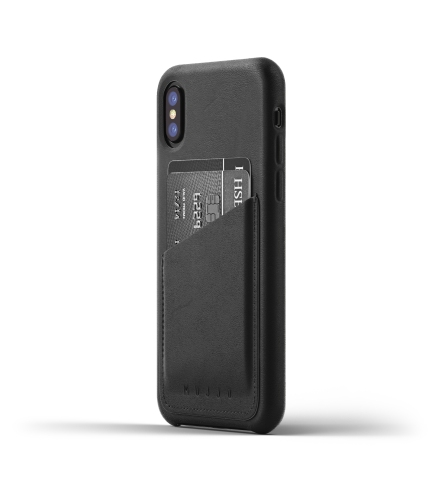 Full leather wallet case for iPhone X - Black - Thumbnail - 01